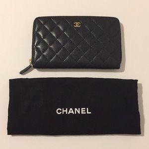 Chanel Black Quilted Zip Around Wallet/Clutch!!